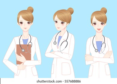 beauty cartoon woman doctor smile to you