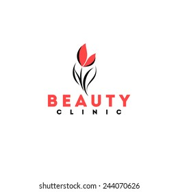 Beauty clinic logo design vector template. Red tulip icon
