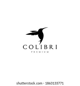 Beauty Colibri Silhouette Isolated White Background Vector Logo Design