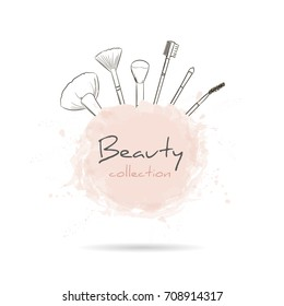 Beauty collection with a set of makeup artist brushes. Beauty make-up and cosmetics background, drawing hands emblem. Vector illustration.