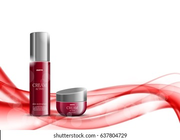 Beauty cosmetic design template with skin moisturizer red realistic packages on soft smooth wavy light dynamic lines background. Vector illustration