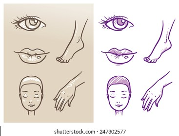 Beauty cosmetic icon set, eye, lips, face, hand, foot. Hand drawn vector illustration