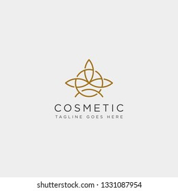 beauty cosmetic line art logo template vector illustration icon element