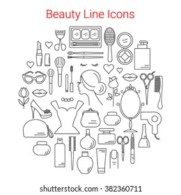 Beauty, Cosmetic and Makeup Vector Line Icons Set Circular Shaped. Symbols  for fashion, salon, spa, hairdressers or wellness centers. Women accessories