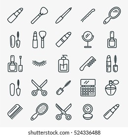 Beauty Cosmetic Minimalistic Flat Line Outline Stroke Icon Pictogram Symbol Set Collection