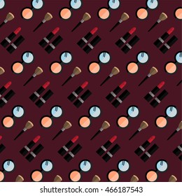 Beauty, cosmetic pattern with flat icons. Vector art.
