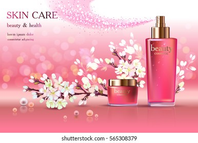 Beauty cosmetic product poster, spring cherry blossom cream ads, makeup template, pink bottle package, skin care cream or liquid. Sparkling shiny glitter background 3D Vector stock illustration .