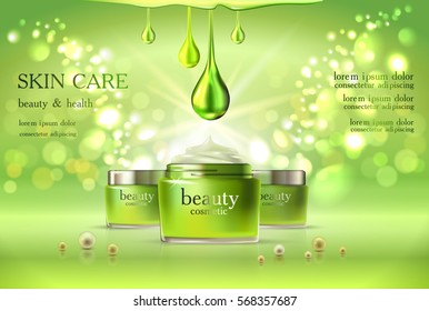 Beauty cosmetic product poster,green cream ads, makeup template, skin care cream or liquid package Sparkling shiny glitter background 3D Vector stock illustration .