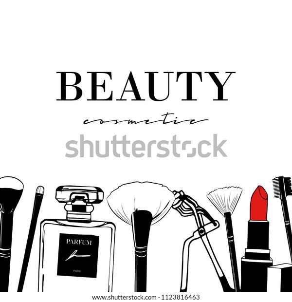 Beauty Cosmetic Set Hand Drawn Cosmetics Stock Vector Royalty Free 1123816463