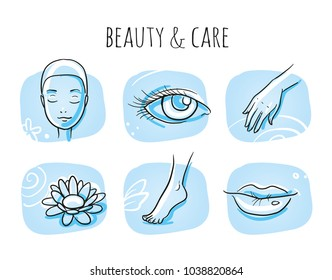 Beauty cosmetic treatment icon set, eye, lips, face, hand, foot. Hand drawn doodle sketch vector illustration, marker style coloring on blue tiles.