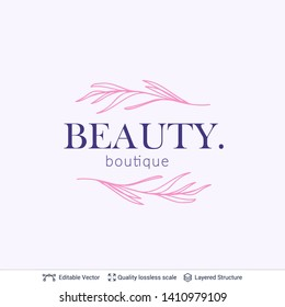 Beauty cosmetics boutique logo design. Floral element and text. Editable vector template.