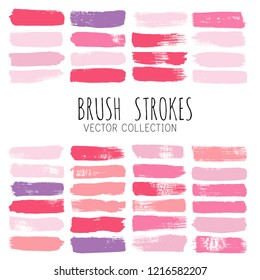Beauty and cosmetics brush strokes vector background. girly lines collection, Makeup swatches, Set of cosmetic texture stains isolated on white. paint line texture.
