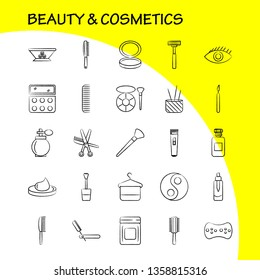 Beauty And Cosmetics Hand Drawn Icon for Web, Print and Mobile UX/UI Kit. Such as: Bowl, Food, Kitchen, Beauty, Cosmetic, Makeup, Powder, Puff, Pictogram Pack. - Vector