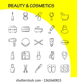 Beauty And Cosmetics Hand Drawn Icon for Web, Print and Mobile UX/UI Kit. Such as: Jewel, Necklace, Present, Lips, Cosmetic, Mouth, Beauty, Clothes, Pictogram Pack. - Vector