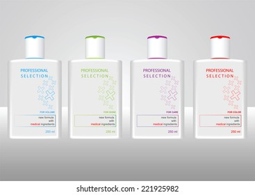Beauty cosmetics  packaging design templates body care hair shampoo or body care shower gel bottles. Clean style package design