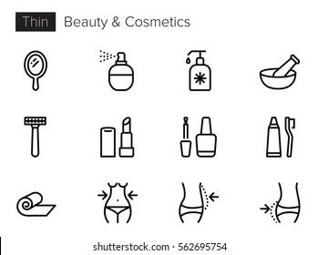 Beauty, Cosmetics Thin line Vector Icons set