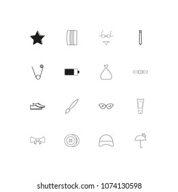 Beauty Dress And Clothes simple linear icons set. Outlined vector icons