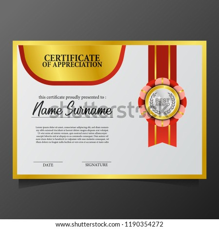 Beauty Elegant Certificate Template 3 D Gold Stock Vector Royalty