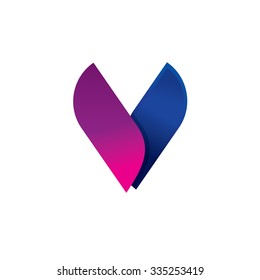 Beauty elegant letter V logo template with blue violet gradient wings. Abstract fox face style ribbon. Female lingerie fashion or perfume style business card identity. Butterfly or moth beauty symbol.
