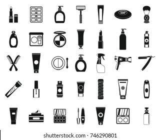Beauty elements icon set. Simple set of beauty elements vector icons for web design isolated on white background