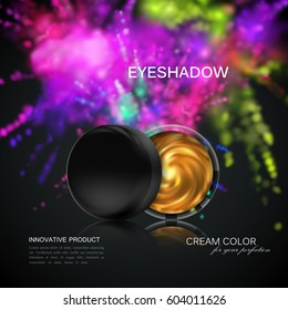 Beauty eye shadows ads. Cosmetics package design. 3d vector beauty illustration. Glamorous golden eyeshadows jar with dusty dye explosive splash. Product package mock-up for fashion magazine