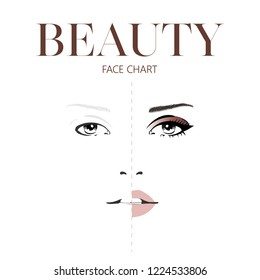 Beauty face chart. Beautiful woman with open eyes. Face chart Makeup Artist Blank Template. Vector illustration.