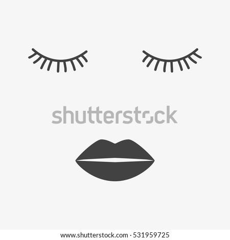 Beauty Face Closed Eyes Sleeping Icon Stock Vector Royalty Free