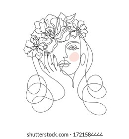 Beauty face with flowers line drawing art. Abstract minimal portrait continuous line. Woman with flowing hair and flowers, for organic cosmetics