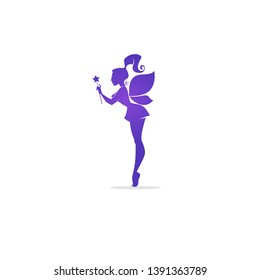 beauty fairy silhouette for your logo, label, emblem