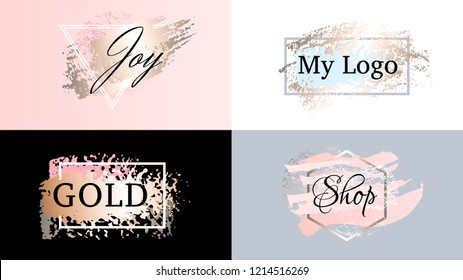 Beauty fashion frames icons logo set. Cosmetics golden paint, ink brushstroke, brush, line or texture. Pastel dirty artistic design element, box, frame for text. Hand drawn vector illustration.