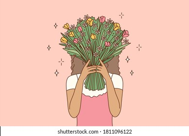 Beauty, fashion, gift, love concept. Young african american woman girl cartoon character covering face hiding behind the bouquet of flowers. Fashionable lifestyle and womens day present illustration.