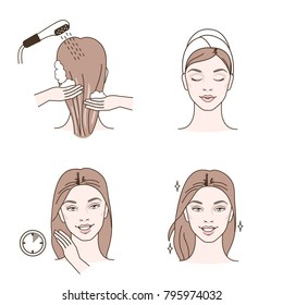 Beauty fashion girl apply hair mask. Line style vector illustration. isolated  on white background.