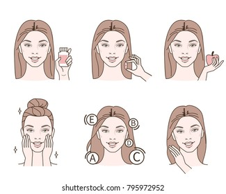 Beauty fashion girl take vitamin pills for skin and hairs.  Line style vector illustration isolated  on white background.