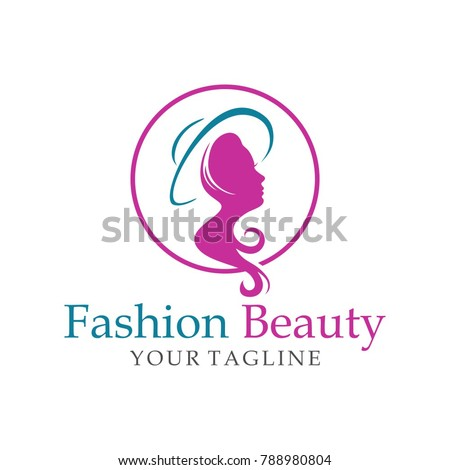 beauty fashion hairstyle logo template icon stock vector royalty