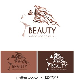 beauty and fashion logo, young woman image in brown shades, calm lovely girls face, attractive lady with fluttered hair