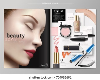Beauty fashion magazine, makeup products with smear textures in 3d illustration, beautiful model with perfect make up