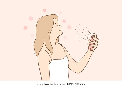 Beauty, fashion, spray, advertising concept. Young happy cheerful smiling beautiful woman girl cartoon character spraying applying perfume with magnificent scent on skin. Cologne ads illustration.