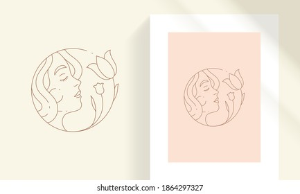 Beauty female face with flowers line art style vector illustration. Bohemian woman profile with floral decor linear drawing for poster and cosmetic logo emblem decoration or fashion print.