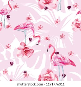 Beauty flat vector bird pink flamingo and flowers roses seamless pattern on the tropical leaves background. Trendy hand drawn bright art illustration
