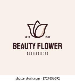 Beauty flower logo hipster retro vintage vector template