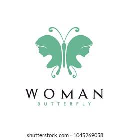 Beauty Flying Butterfly Woman Silhouette logo design inspiration