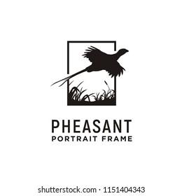 Beauty Flying Pheasant Silhouette Logo design