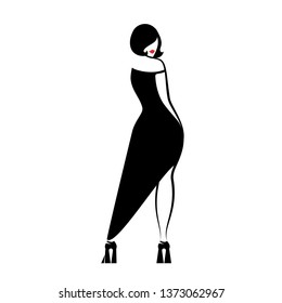 Beauty girl in a black long evening dress standing half turn. Vector illustration