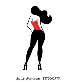 Beauty girl in a black tight pants standing rear view. Vector illustration