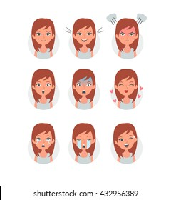 Beauty girl emotions set. Woman avatars with different emotions. Vector isolated Illustration.