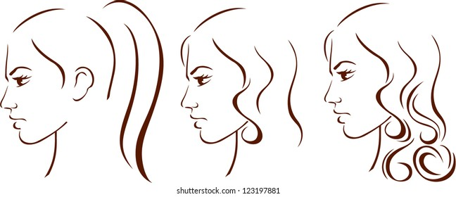 Beauty girl face with three hairstyles. Vector.