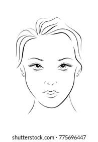 Beauty girl. Fashion beautiful woman face chart