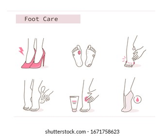 Beauty Girl has Feet Pain, Corn and Calluses due to Uncomfortable Shoe. Woman Use Pumice Stone, Foot Mask and Peeling Cream. Pedicure Spa Routine. Flat Line Vector Illustration and Icons set.