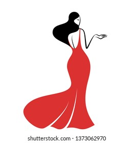 Beauty girl in a red long evening dress standing half turn. Vector illustration