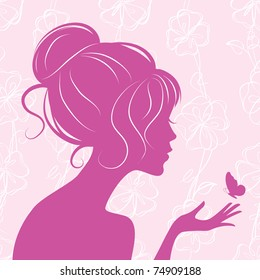 beauty girl silhouette with butterfly